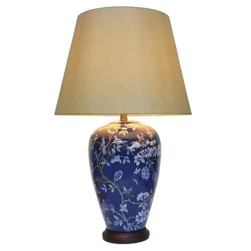 Lampe de Table Chinois Royal Bleu (Paire)