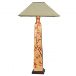 Lampe de Table Chinois Rouge Floral (Paire)
