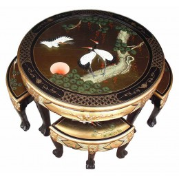 Ensemble de table en laque de or chinois