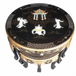 Table basse et tabourets chinois