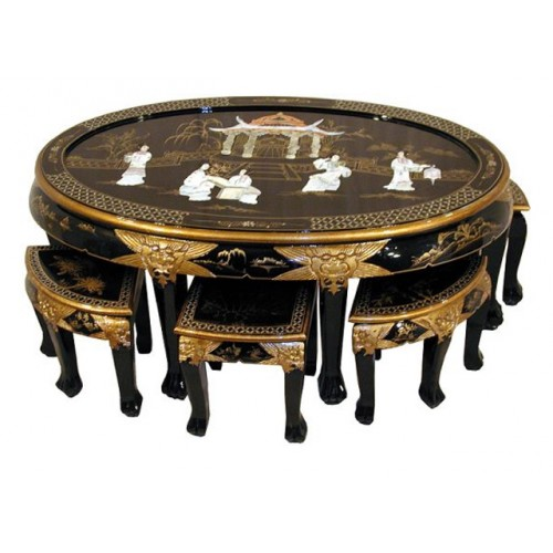 Table basse chinoise avec tabourets